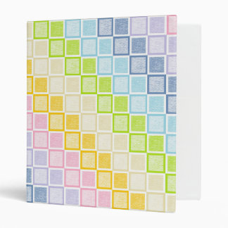 Static Pastel Rainbow Squares 3 Ring Binder