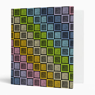 Static Pastel Rainbow Squares Black 3 Ring Binder