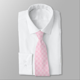 Static Pink and White Squares Neck Tie