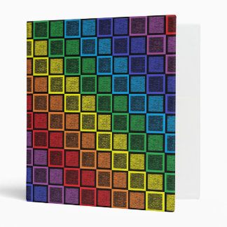 Static Rainbow Squares Black 3 Ring Binder