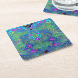 Static Stunning Abstract Square Paper Coaster