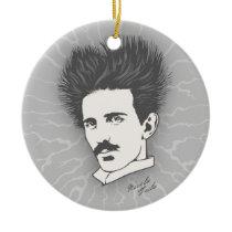 Static Tesla Ceramic Ornament