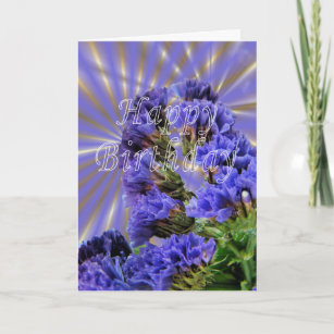 Purple statice flowers gifts on zazzle statice birthday customize card mightylinksfo