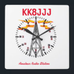 """Station Clock for Ham Radio Operators<br><div class=""""desc"""">This attractive clock is customizable with your clal,  and features 24 hour format and graphics. A fine edition to your ham shack! 73 de Gary k8jcr</div>"""