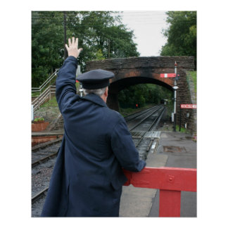 Station master at Bishops Lydeard station Poster