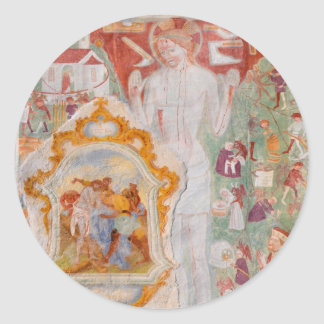 Station of the Cross Fresco on St. Jacob Church Classic Round Sticker