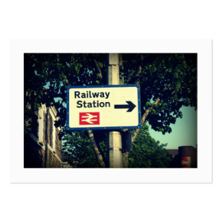 Station Sign (Bordered) Large Business Card