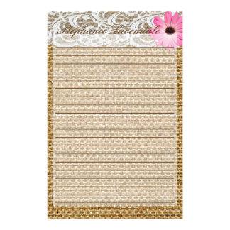 Stationary Burlap Lace Pink Daisy Flower Customize Stationery
