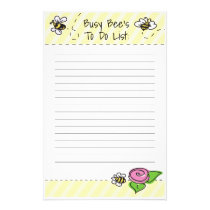 Stationary Busy Bee's To Do List Stationery