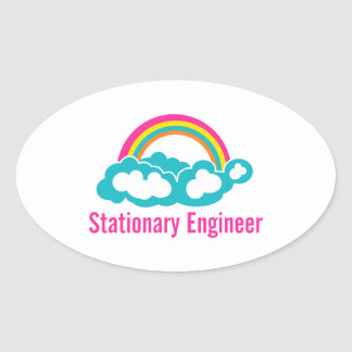 Stationary Engineer Cloud Rainbow Oval Sticker