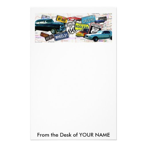 Stationary - Route 66_Classic Cars Personalized Stationery