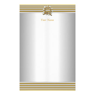 Stationery Elegant Gold Silver White Pearl Stationery Design