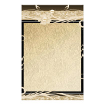 Stationery Old Paper Gold Black Floral