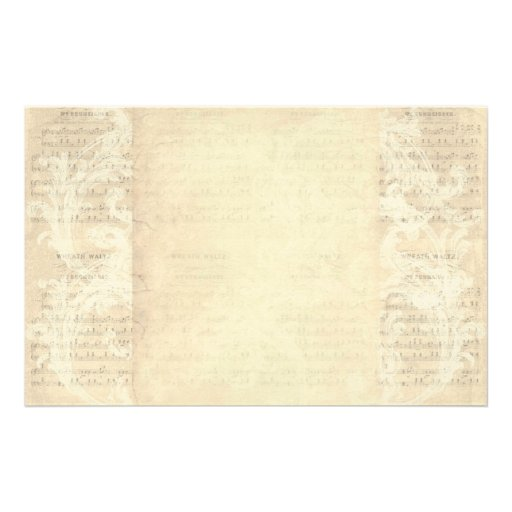 Stationery Paper Vintage Music Sheet Cream Zazzle