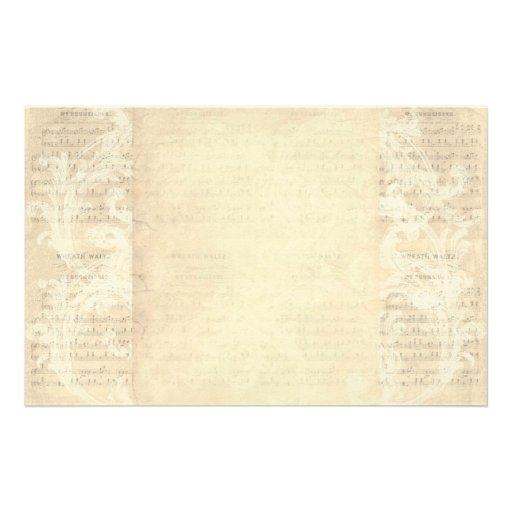 Stationery Paper Vintage Music Sheet Cream Zazzle