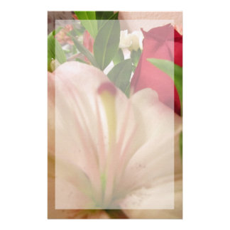 Stationery--Pink Lily & Red Rose With Border Stationery