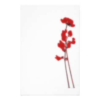 Stationery with red flowers papeleria