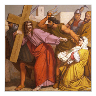 Stations of the Cross 5 Simon Carries the Cross 5.25x5.25 Square Paper Invitation Card