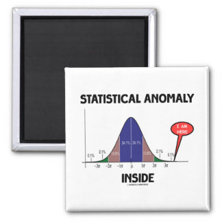 Statistical Anomaly Inside (Bell Curve I Am Here) 2 Inch Square Magnet