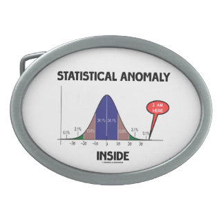 Statistical Anomaly Inside (Bell Curve I Am Here) Oval Belt Buckle
