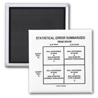Statistical Error Summarized (Hypothesis Testing) 2 Inch Square Magnet