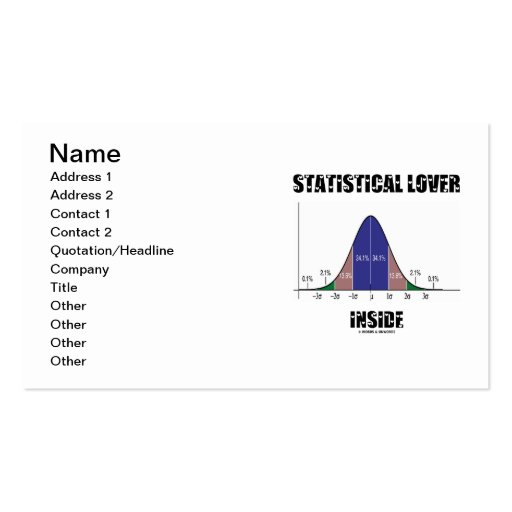 Statistical Lover Inside (Bell Curve) Double-Sided Standard Business Cards (Pack Of 100)