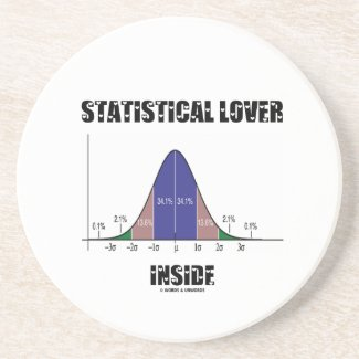 Statistical Lover Inside (Bell Curve Humor) Drink Coaster
