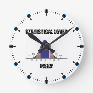 Statistical Lover Inside (Bell Curve Humor) Round Clock
