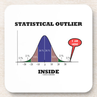 Statistical Outlier Inside (Bell Curve Humor) Drink Coaster