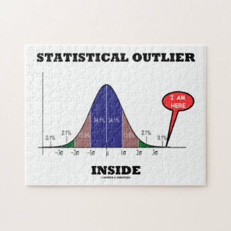 Statistical Outlier Inside (Bell Curve Humor) Jigsaw Puzzle