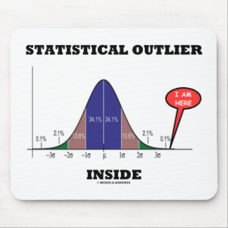 Statistical Outlier Inside (Bell Curve Humor) Mouse Pad