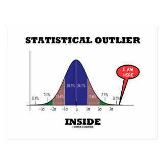 Statistical Outlier Inside (Bell Curve Humor) Post Card