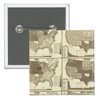 Statistical United States lithographed maps Buttons