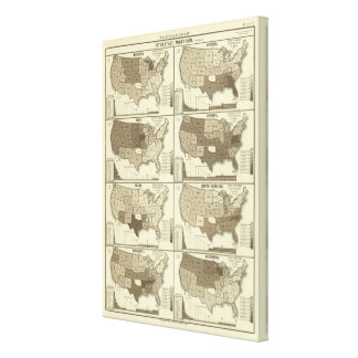 Statistical United States lithographed maps Canvas Prints