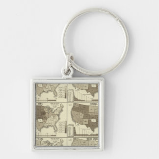 Statistical United States lithographed maps Key Chains