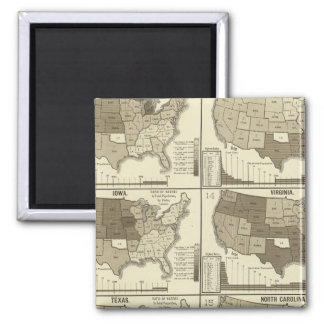 Statistical United States lithographed maps Refrigerator Magnets