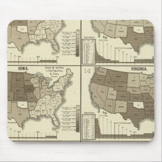 Statistical United States lithographed maps Mouse Pads