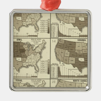 Statistical United States lithographed maps Christmas Tree Ornament