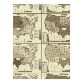 Statistical United States lithographed maps Post Card