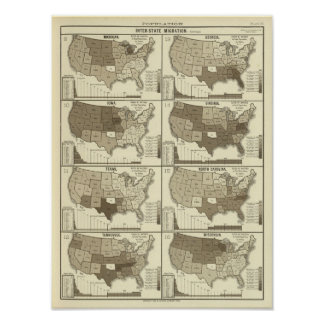 Statistical United States lithographed maps Print