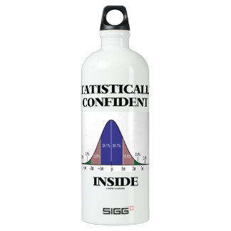 Statistically Confident Inside (Bell Curve Humor) Aluminum Water Bottle