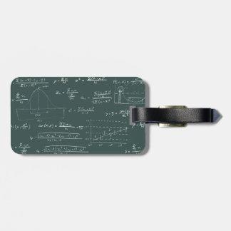 Statistics blackboard luggage tag