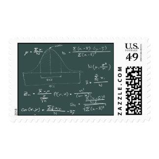 Statistics blackboard postage stamps