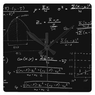 Statistics blackboard square wall clock