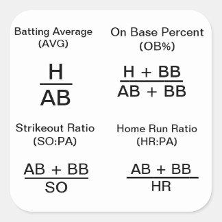 Stats calculador del béisbol pegatina cuadrada