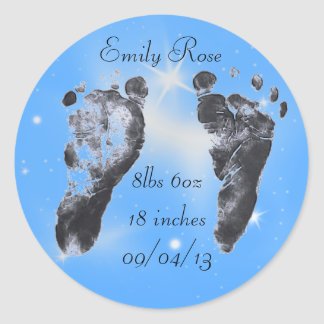 Stats del nacimiento de las huellas del bebé pegatina redonda