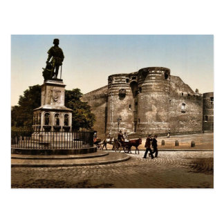 Statue and castle of King Rene, Angers, France cla Postcard