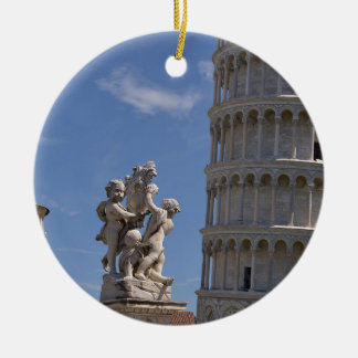 Statue and leaning Tower of Pisa Ceramic Ornament