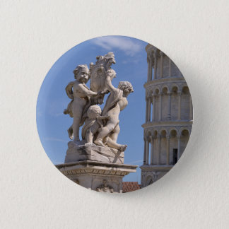 Statue and leaning Tower of Pisa Pinback Button