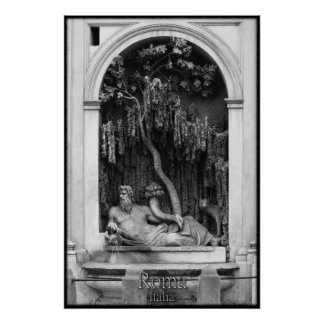 Statue and Relief, Rome Poster